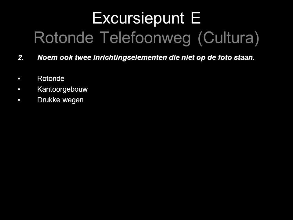 Excursiepunt E Rotonde Telefoonweg (Cultura) 2.Noem ook twee inrichtingselementen die niet op de foto staan.