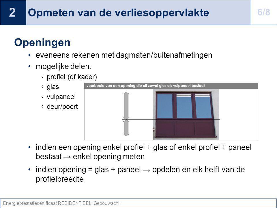 Energieprestatiecertificaat RESIDENTIEEL: Gebouwschil Opmeten van de verliesoppervlakte Openingen eveneens rekenen met dagmaten/buitenafmetingen mogel