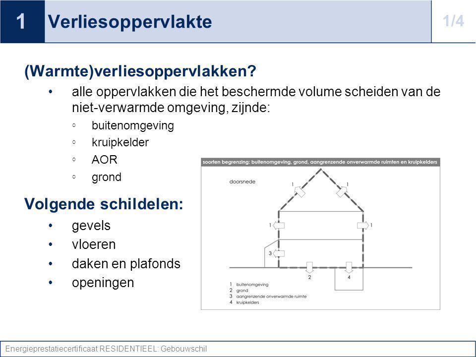 Energieprestatiecertificaat RESIDENTIEEL: Gebouwschil U-waarde: Daken Daken hellend dak plat dak plafond (= zoldervloer) Vaststellen isolatie/spouw.