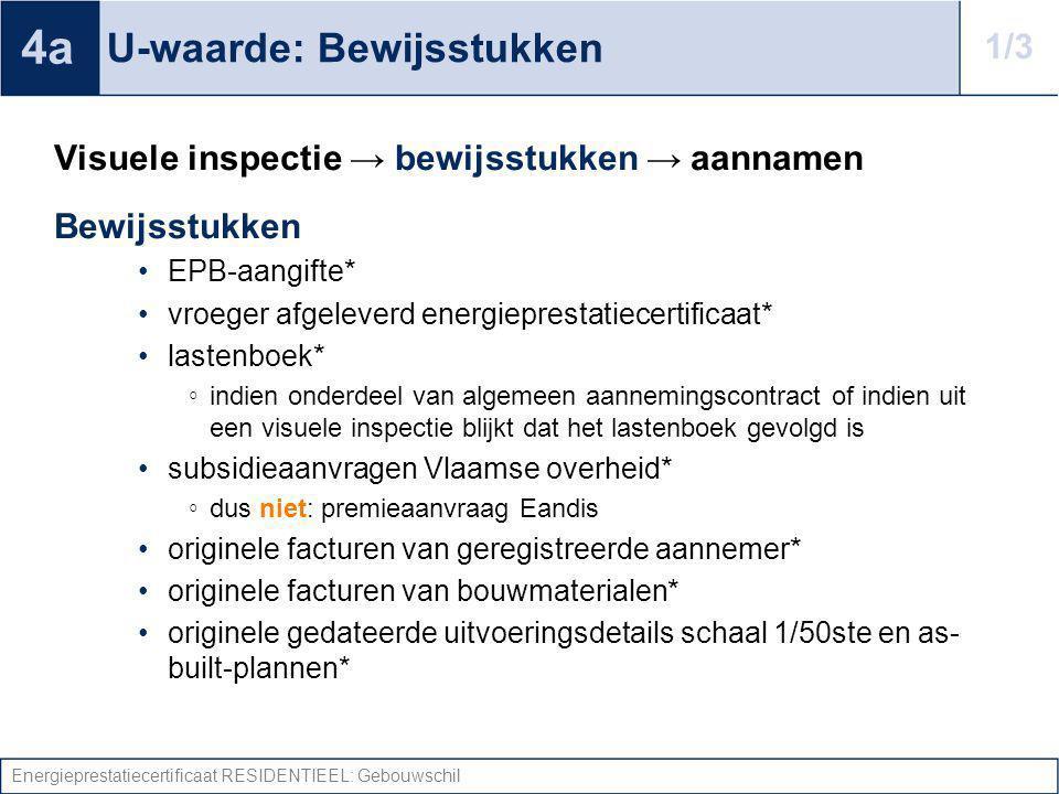 Energieprestatiecertificaat RESIDENTIEEL: Gebouwschil U-waarde: Bewijsstukken Visuele inspectie → bewijsstukken → aannamen Bewijsstukken EPB-aangifte*