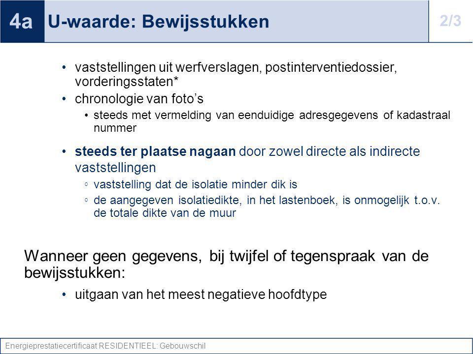 Energieprestatiecertificaat RESIDENTIEEL: Gebouwschil U-waarde: Bewijsstukken vaststellingen uit werfverslagen, postinterventiedossier, vorderingsstat