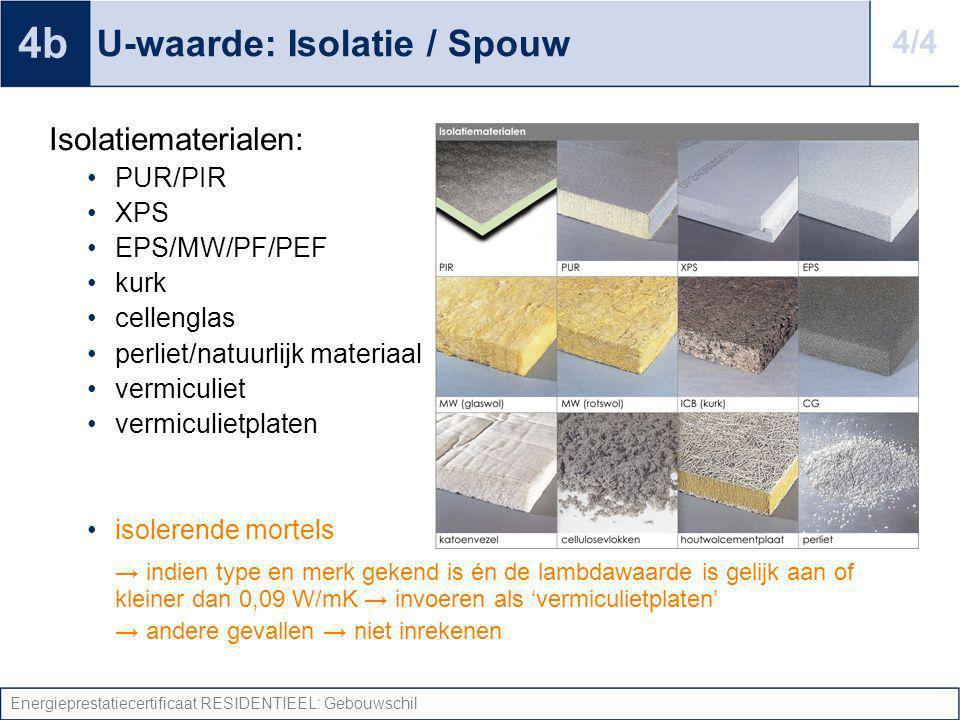 Energieprestatiecertificaat RESIDENTIEEL: Gebouwschil U-waarde: Isolatie / Spouw Isolatiematerialen: PUR/PIR XPS EPS/MW/PF/PEF kurk cellenglas perliet