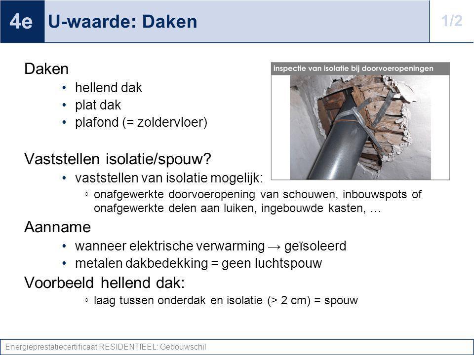Energieprestatiecertificaat RESIDENTIEEL: Gebouwschil U-waarde: Daken Daken hellend dak plat dak plafond (= zoldervloer) Vaststellen isolatie/spouw? v