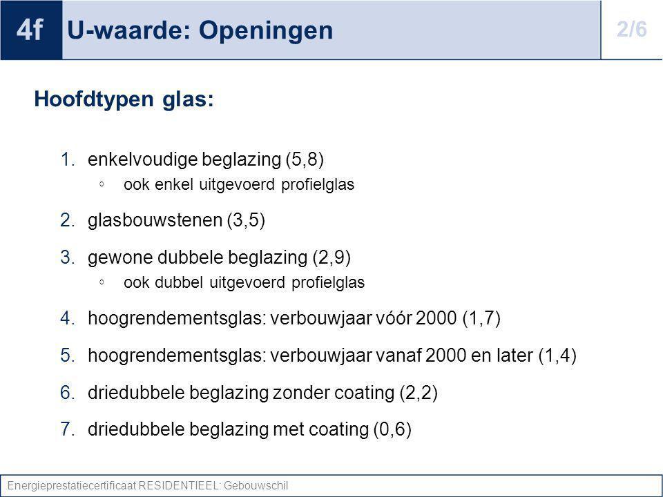 Energieprestatiecertificaat RESIDENTIEEL: Gebouwschil U-waarde: Openingen Hoofdtypen glas: 1.enkelvoudige beglazing (5,8) ◦ ook enkel uitgevoerd profi
