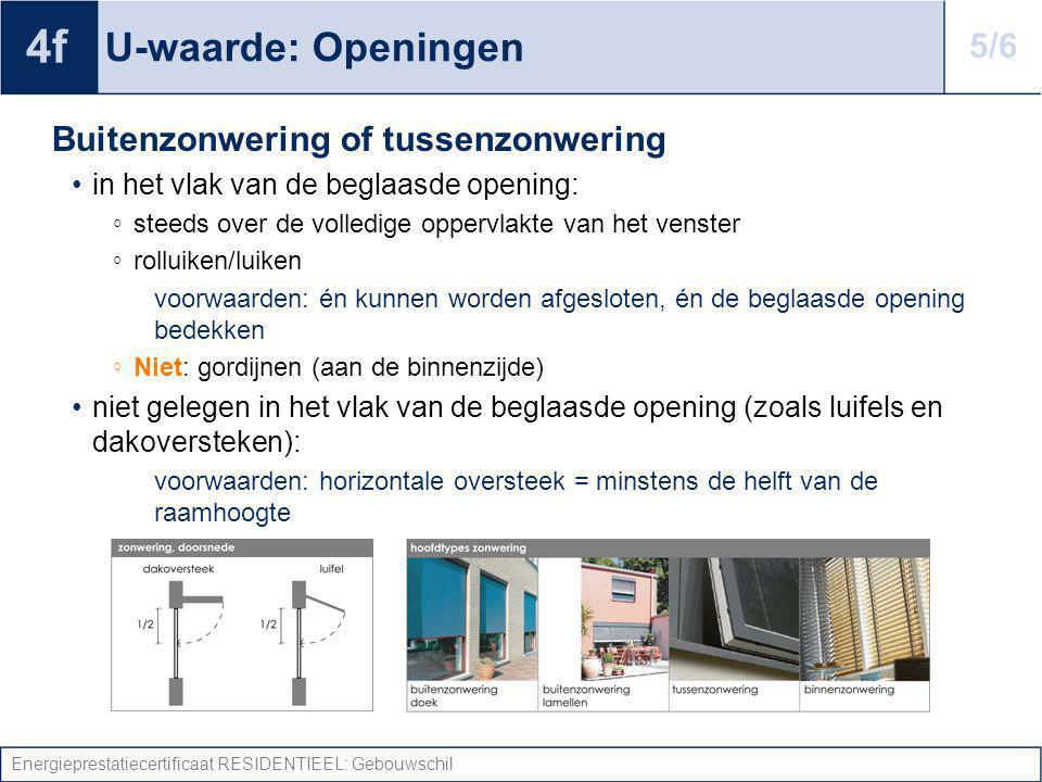 Energieprestatiecertificaat RESIDENTIEEL: Gebouwschil U-waarde: Openingen Buitenzonwering of tussenzonwering in het vlak van de beglaasde opening: ◦ s