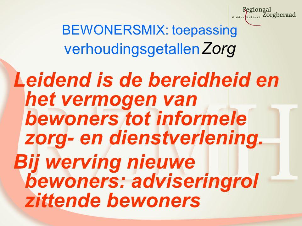 BEWONERSMIX: toepassing verhoudingsgetallen Zorg Leidend is de bereidheid en het vermogen van bewoners tot informele zorg- en dienstverlening.