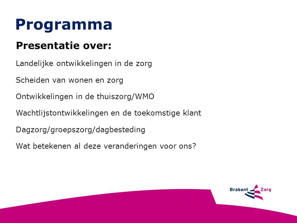 Landelijke ontwikkelingen Meer mensen worden oud en ouderen krijgen meer aandoeningen Kosten gezondheidszorg rijzen de pan uit Er zijn te weinig mensen om zorg te verlenen Systeem van de gezondheidszorg is onbetaalbaar geworden 8 % BNP naar gezondheidszorg in NL