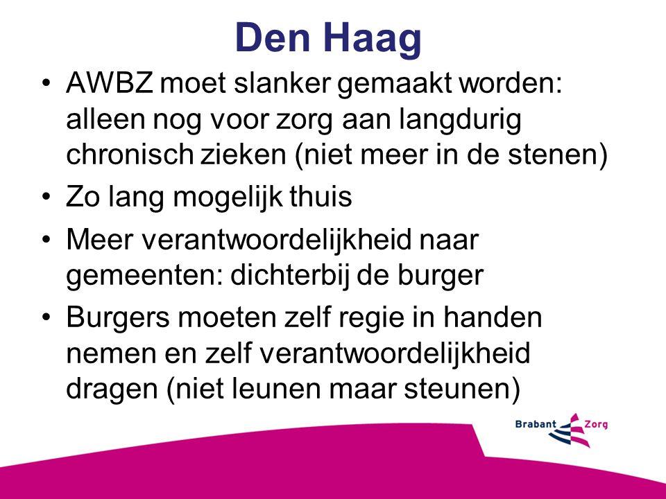 Den Haag AWBZ moet slanker gemaakt worden: alleen nog voor zorg aan langdurig chronisch zieken (niet meer in de stenen) Zo lang mogelijk thuis Meer verantwoordelijkheid naar gemeenten: dichterbij de burger Burgers moeten zelf regie in handen nemen en zelf verantwoordelijkheid dragen (niet leunen maar steunen)