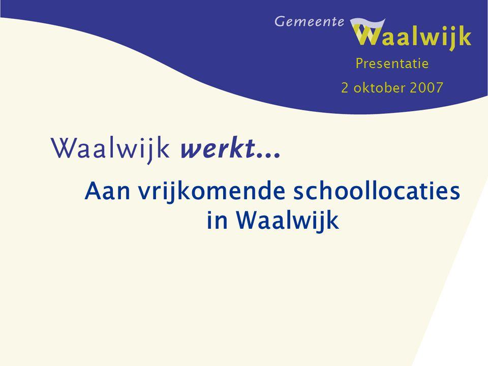 Aan vrijkomende schoollocaties in Waalwijk Presentatie 2 oktober 2007