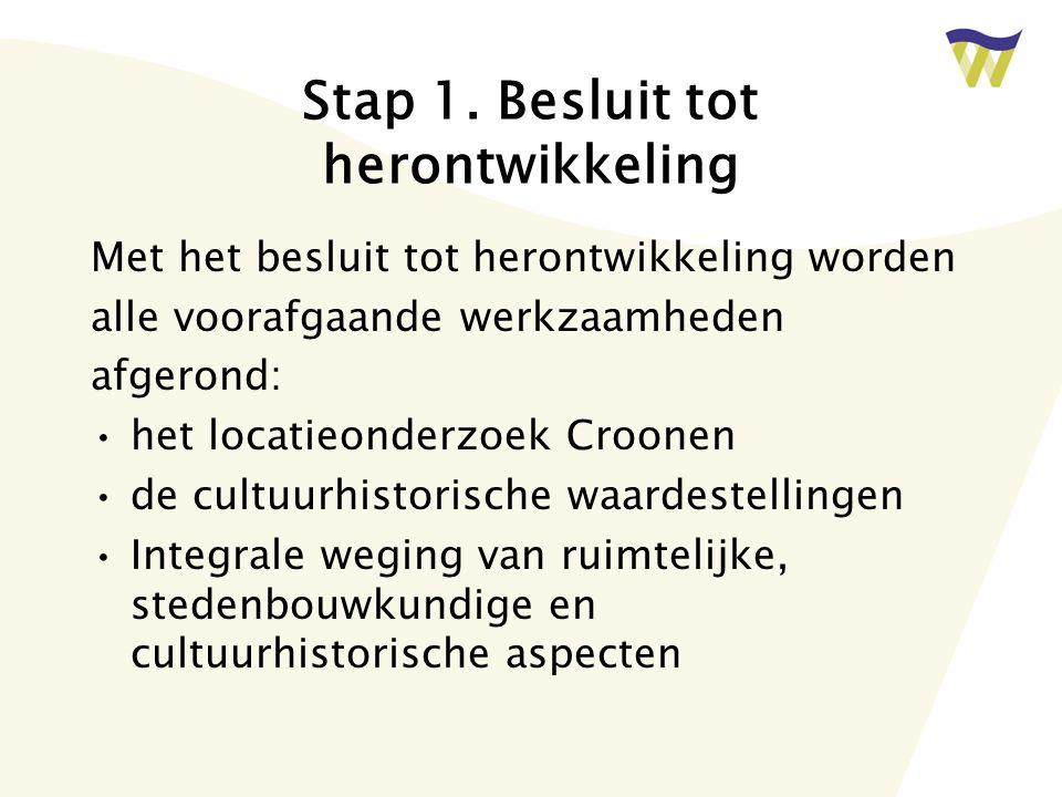 Stap 1. Besluit tot herontwikkeling Met het besluit tot herontwikkeling worden alle voorafgaande werkzaamheden afgerond: het locatieonderzoek Croonen