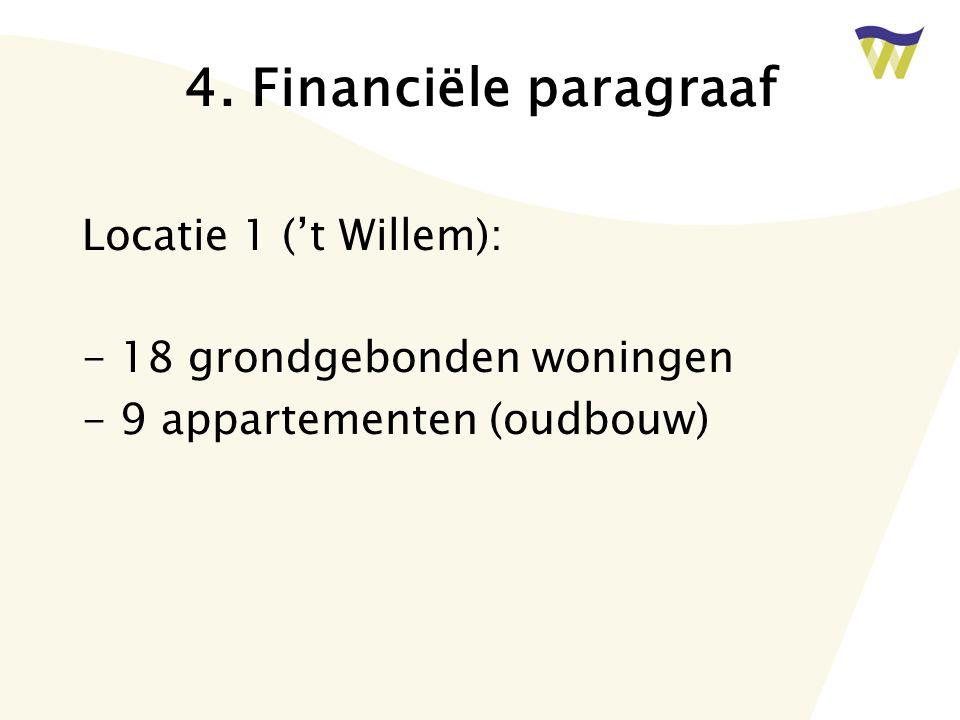 4. Financiële paragraaf Locatie 1 ('t Willem): - 18 grondgebonden woningen - 9 appartementen (oudbouw)