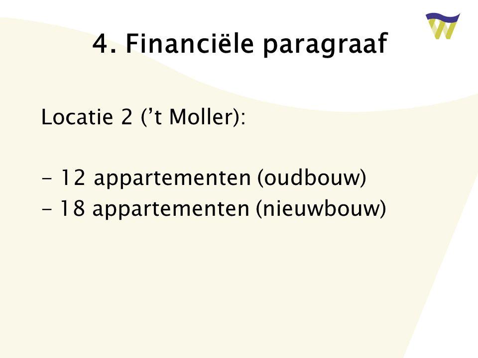 4. Financiële paragraaf Locatie 2 ('t Moller): - 12 appartementen (oudbouw) -18 appartementen (nieuwbouw)