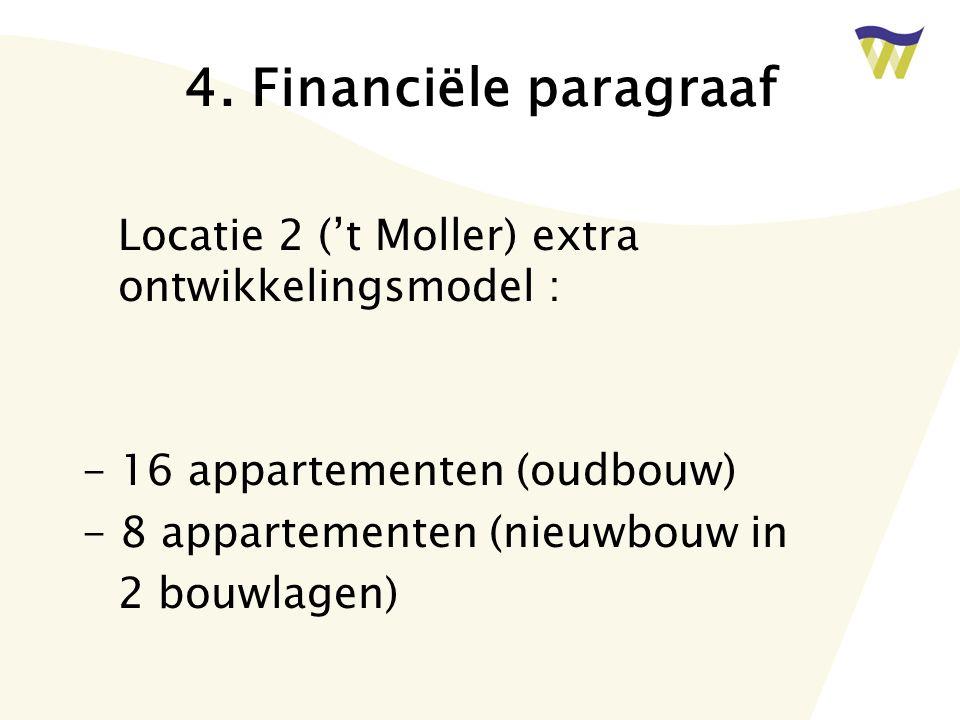 4. Financiële paragraaf Locatie 2 ('t Moller) extra ontwikkelingsmodel : - 16 appartementen (oudbouw) - 8 appartementen (nieuwbouw in 2 bouwlagen)