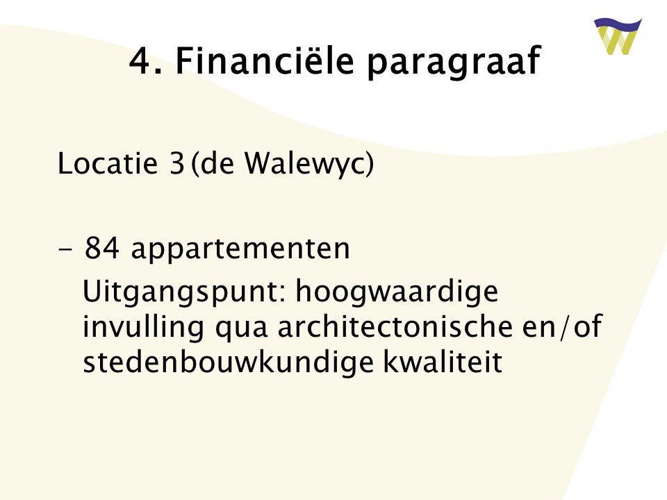 4. Financiële paragraaf Locatie 3(de Walewyc) - 84 appartementen Uitgangspunt: hoogwaardige invulling qua architectonische en/of stedenbouwkundige kwa