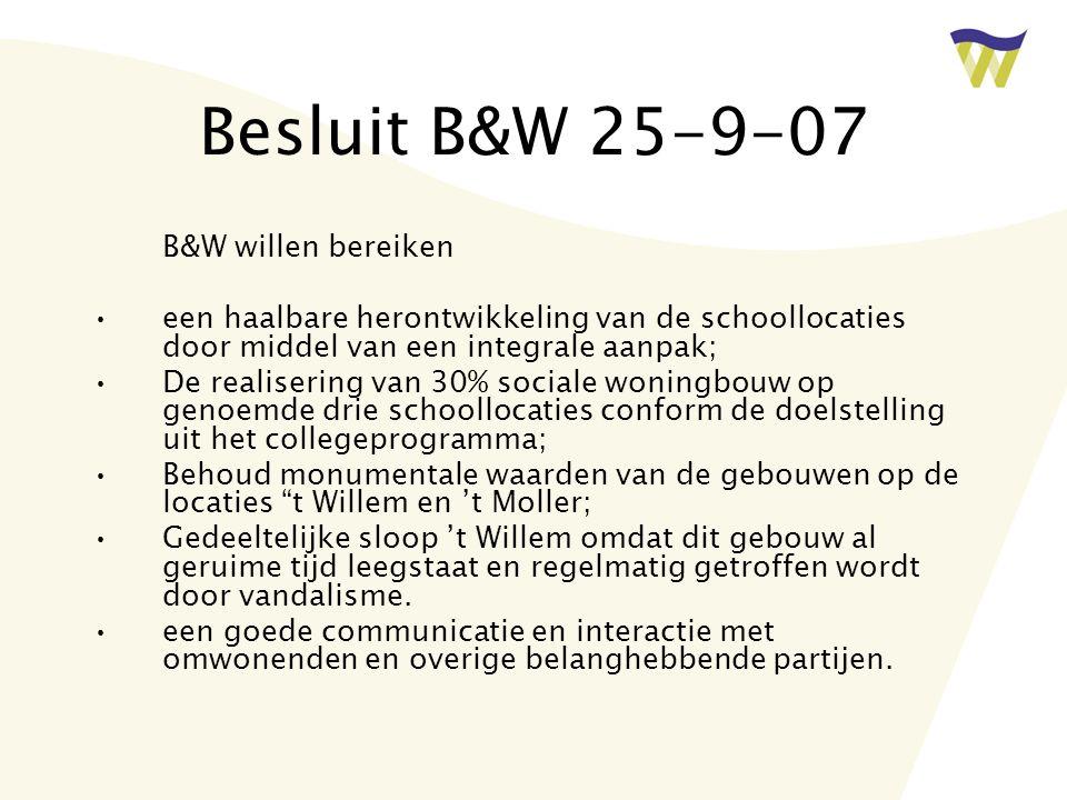 Besluit B&W 25-9-07 B&W willen bereiken een haalbare herontwikkeling van de schoollocaties door middel van een integrale aanpak; De realisering van 30% sociale woningbouw op genoemde drie schoollocaties conform de doelstelling uit het collegeprogramma; Behoud monumentale waarden van de gebouwen op de locaties t Willem en 't Moller; Gedeeltelijke sloop 't Willem omdat dit gebouw al geruime tijd leegstaat en regelmatig getroffen wordt door vandalisme.