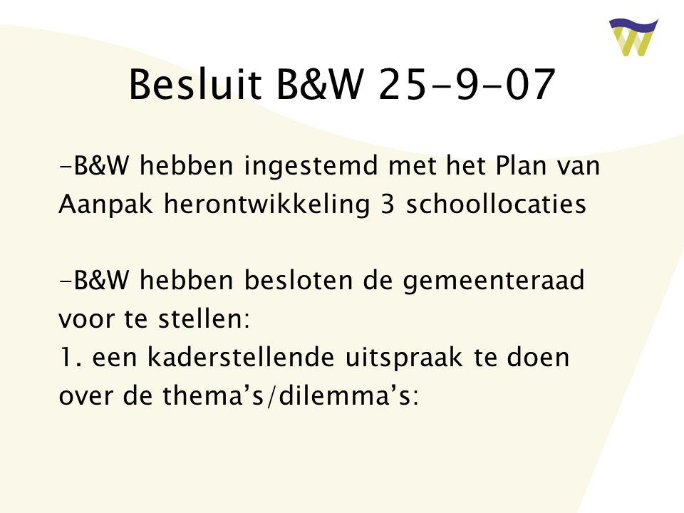 Besluit B&W 25-9-07 -B&W hebben ingestemd met het Plan van Aanpak herontwikkeling 3 schoollocaties -B&W hebben besloten de gemeenteraad voor te stellen: 1.