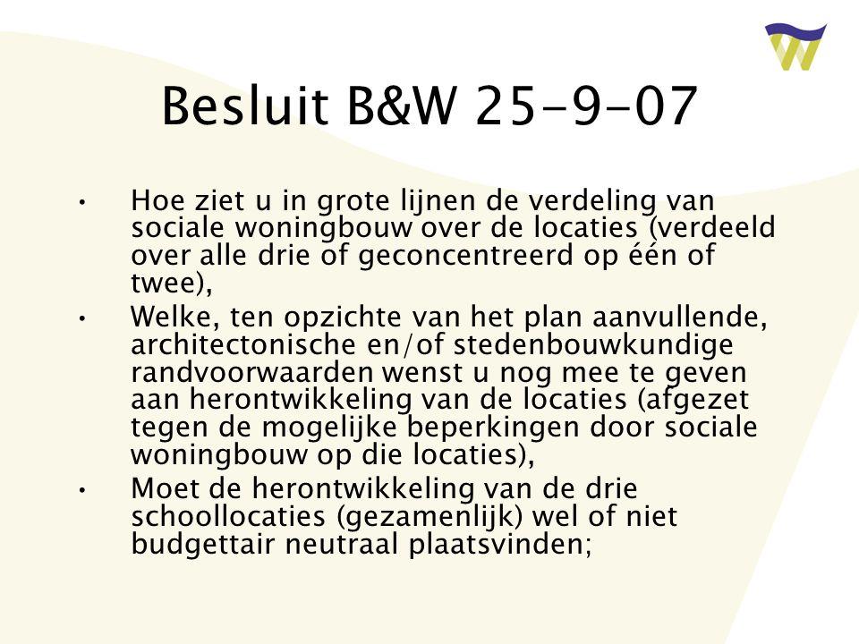 Besluit B&W 25-9-07 Hoe ziet u in grote lijnen de verdeling van sociale woningbouw over de locaties (verdeeld over alle drie of geconcentreerd op één