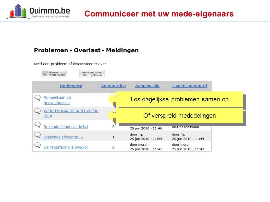 Communiceer met uw mede-eigenaars Los dagelijkse problemen samen op Of verspreid mededelingen