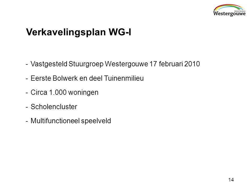 Verkavelingsplan WG-I -Vastgesteld Stuurgroep Westergouwe 17 februari 2010 -Eerste Bolwerk en deel Tuinenmilieu -Circa 1.000 woningen -Scholencluster -Multifunctioneel speelveld 14