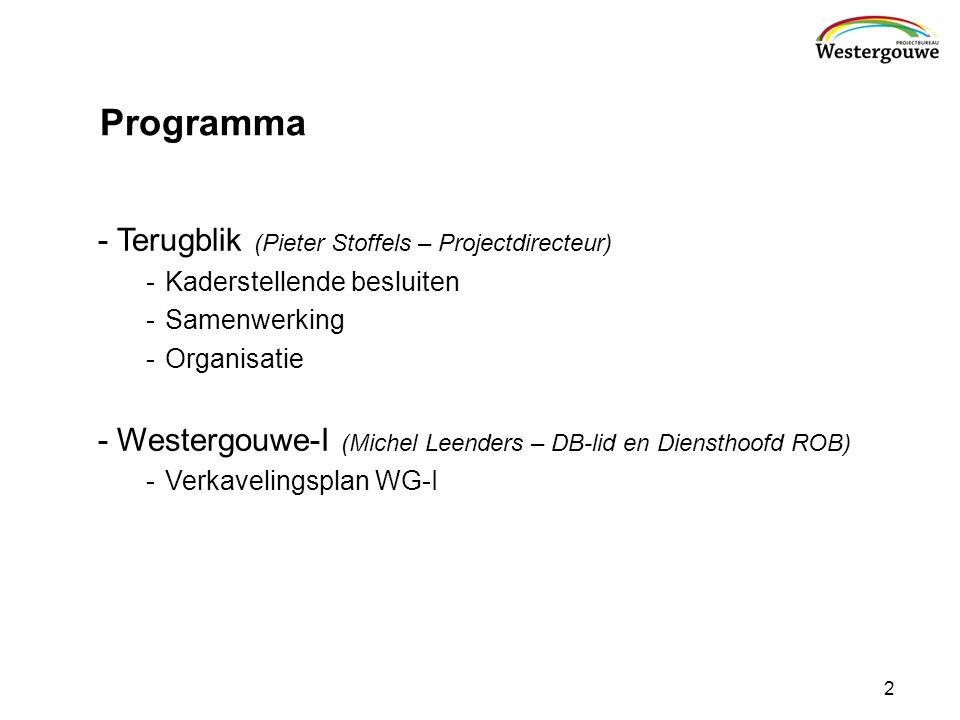 Programma -Terugblik (Pieter Stoffels – Projectdirecteur) -Kaderstellende besluiten -Samenwerking -Organisatie -Westergouwe-I (Michel Leenders – DB-lid en Diensthoofd ROB) -Verkavelingsplan WG-I 2