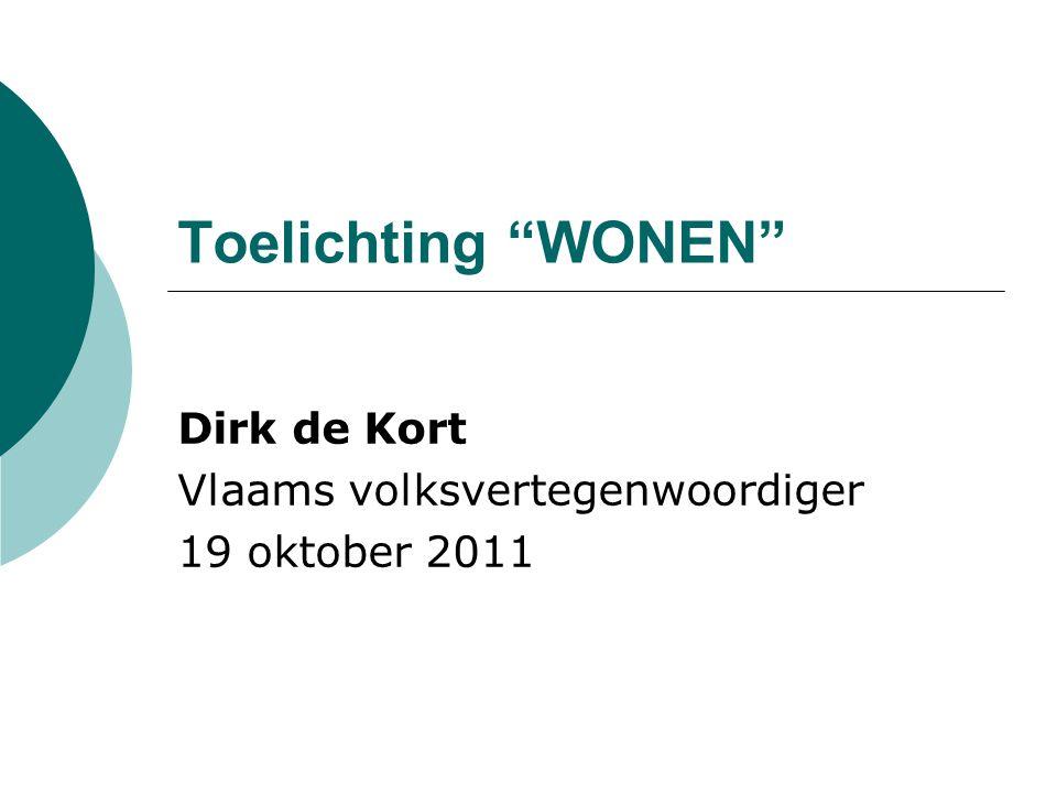 Toelichting WONEN Dirk de Kort Vlaams volksvertegenwoordiger 19 oktober 2011