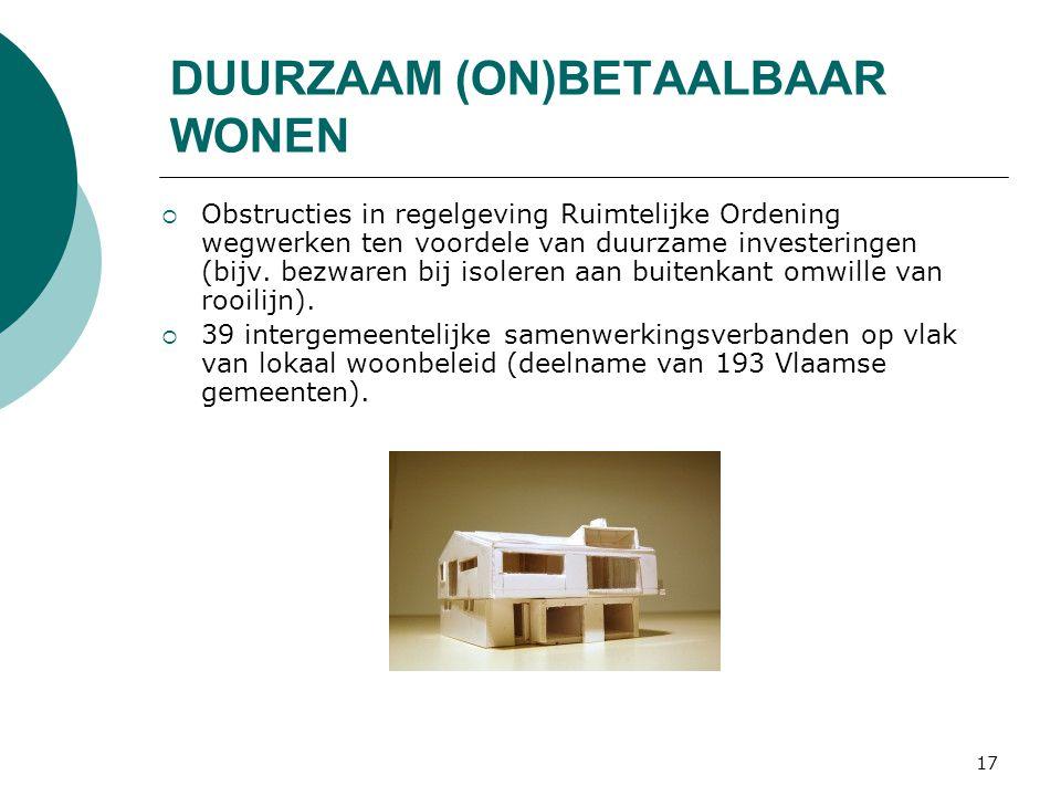 17 DUURZAAM (ON)BETAALBAAR WONEN  Obstructies in regelgeving Ruimtelijke Ordening wegwerken ten voordele van duurzame investeringen (bijv.