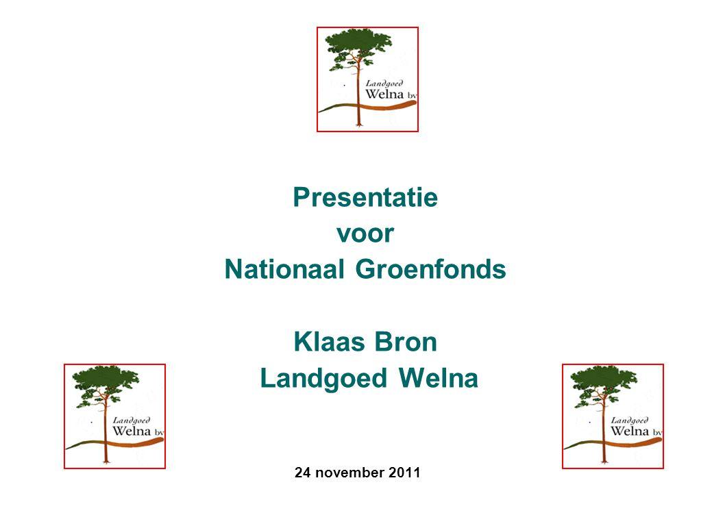 24 november 2011 Presentatie voor Nationaal Groenfonds Klaas Bron Landgoed Welna