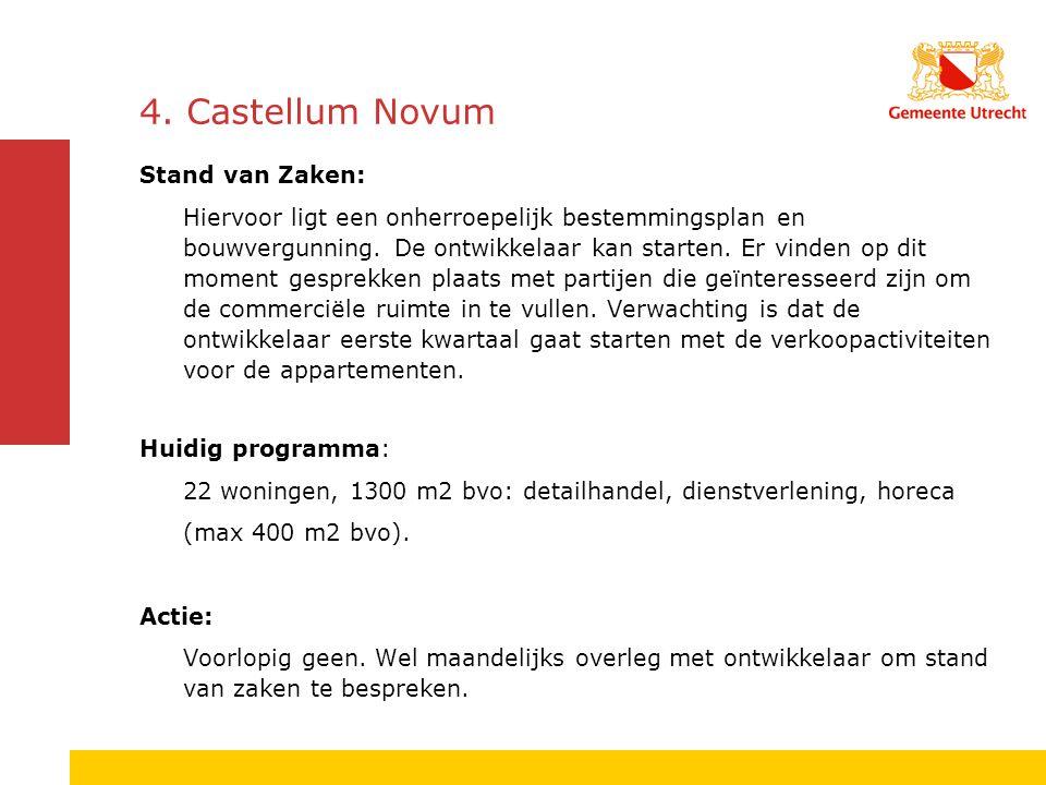 4. Castellum Novum Stand van Zaken: Hiervoor ligt een onherroepelijk bestemmingsplan en bouwvergunning. De ontwikkelaar kan starten. Er vinden op dit