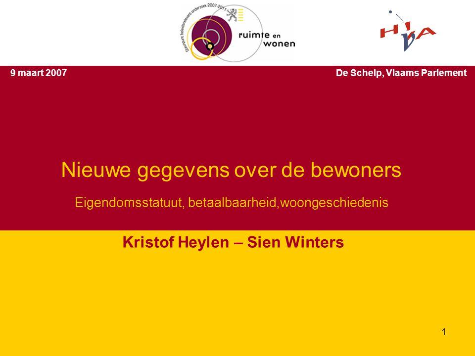 Eigendomsstatuut, betaalbaarheid,woongeschiedenis Kristof Heylen – Sien Winters 9 maart 2007De Schelp, Vlaams Parlement Nieuwe gegevens over de bewoners 1