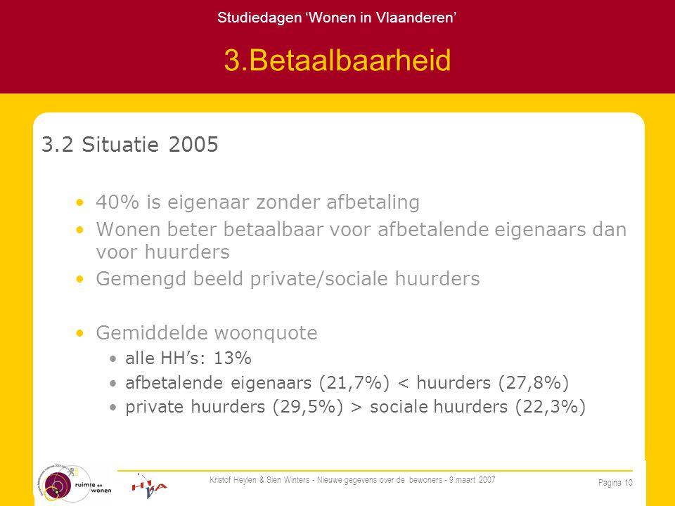 Studiedagen 'Wonen in Vlaanderen' Pagina 10 Kristof Heylen & Sien Winters - Nieuwe gegevens over de bewoners - 9 maart 2007 3.Betaalbaarheid 3.2 Situatie 2005 40% is eigenaar zonder afbetaling Wonen beter betaalbaar voor afbetalende eigenaars dan voor huurders Gemengd beeld private/sociale huurders Gemiddelde woonquote alle HH's: 13% afbetalende eigenaars (21,7%) < huurders (27,8%) private huurders (29,5%) > sociale huurders (22,3%)