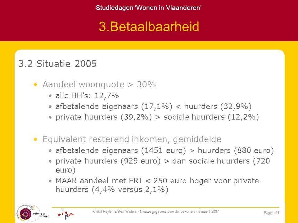 Studiedagen 'Wonen in Vlaanderen' Pagina 11 Kristof Heylen & Sien Winters - Nieuwe gegevens over de bewoners - 9 maart 2007 3.Betaalbaarheid 3.2 Situatie 2005 Aandeel woonquote > 30% alle HH's: 12,7% afbetalende eigenaars (17,1%) < huurders (32,9%) private huurders (39,2%) > sociale huurders (12,2%) Equivalent resterend inkomen, gemiddelde afbetalende eigenaars (1451 euro) > huurders (880 euro) private huurders (929 euro) > dan sociale huurders (720 euro) MAAR aandeel met ERI < 250 euro hoger voor private huurders (4,4% versus 2,1%)