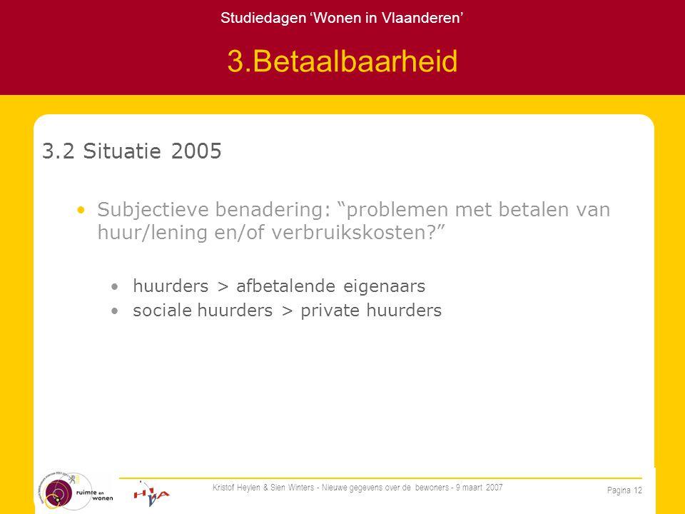 Studiedagen 'Wonen in Vlaanderen' Pagina 12 Kristof Heylen & Sien Winters - Nieuwe gegevens over de bewoners - 9 maart 2007 3.Betaalbaarheid 3.2 Situatie 2005 Subjectieve benadering: problemen met betalen van huur/lening en/of verbruikskosten huurders > afbetalende eigenaars sociale huurders > private huurders