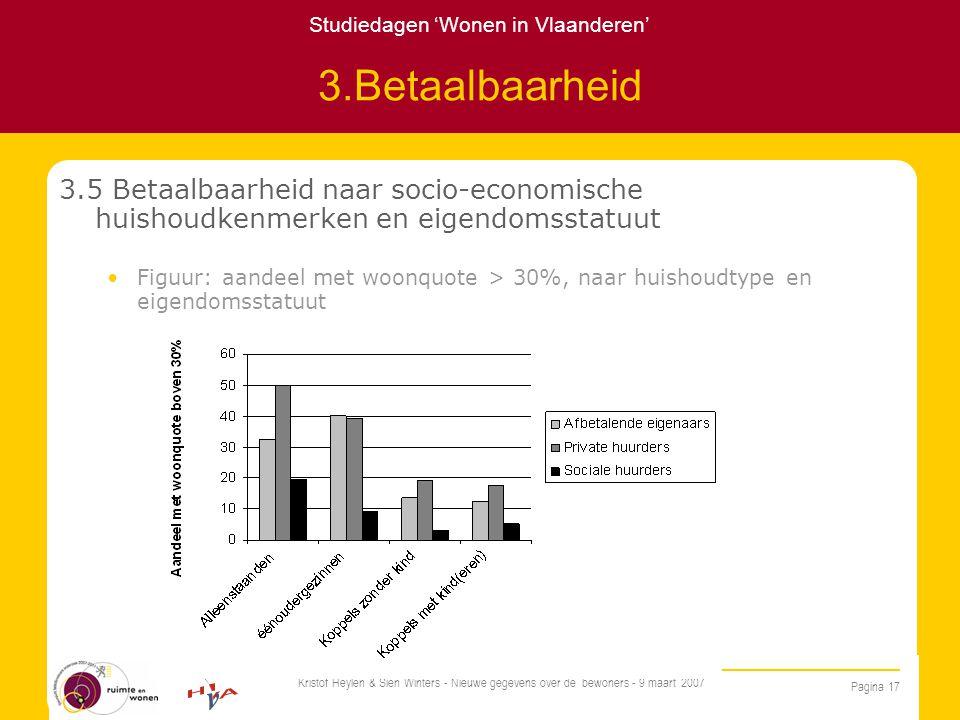 Studiedagen 'Wonen in Vlaanderen' Pagina 17 Kristof Heylen & Sien Winters - Nieuwe gegevens over de bewoners - 9 maart 2007 3.Betaalbaarheid 3.5 Betaalbaarheid naar socio-economische huishoudkenmerken en eigendomsstatuut Figuur: aandeel met woonquote > 30%, naar huishoudtype en eigendomsstatuut