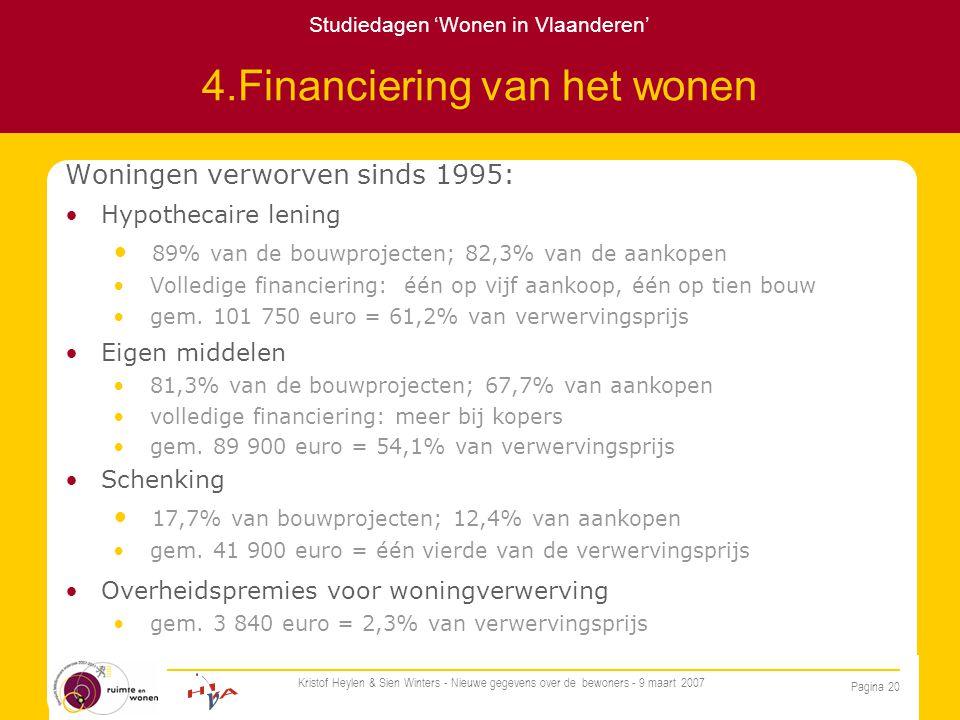Studiedagen 'Wonen in Vlaanderen' Pagina 20 Kristof Heylen & Sien Winters - Nieuwe gegevens over de bewoners - 9 maart 2007 4.Financiering van het wonen Woningen verworven sinds 1995: Hypothecaire lening 89% van de bouwprojecten; 82,3% van de aankopen Volledige financiering: één op vijf aankoop, één op tien bouw gem.