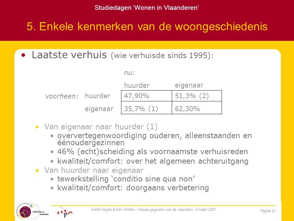 Studiedagen 'Wonen in Vlaanderen' Pagina 21 Kristof Heylen & Sien Winters - Nieuwe gegevens over de bewoners - 9 maart 2007 5.