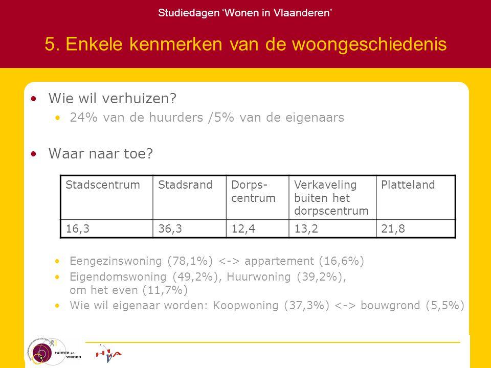 Studiedagen 'Wonen in Vlaanderen' 5. Enkele kenmerken van de woongeschiedenis Wie wil verhuizen.