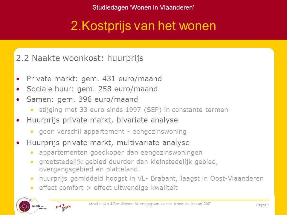 Studiedagen 'Wonen in Vlaanderen' Pagina 7 Kristof Heylen & Sien Winters - Nieuwe gegevens over de bewoners - 9 maart 2007 2.Kostprijs van het wonen 2.2 Naakte woonkost: huurprijs Private markt: gem.