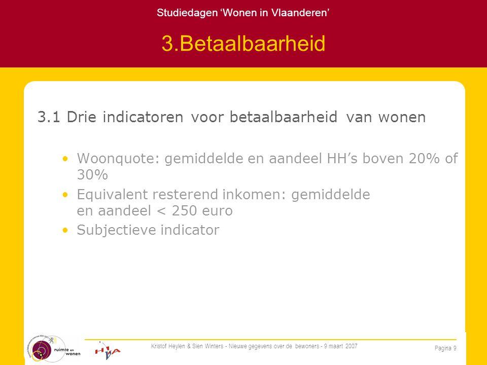 Studiedagen 'Wonen in Vlaanderen' Pagina 9 Kristof Heylen & Sien Winters - Nieuwe gegevens over de bewoners - 9 maart 2007 3.Betaalbaarheid 3.1 Drie indicatoren voor betaalbaarheid van wonen Woonquote: gemiddelde en aandeel HH's boven 20% of 30% Equivalent resterend inkomen: gemiddelde en aandeel < 250 euro Subjectieve indicator