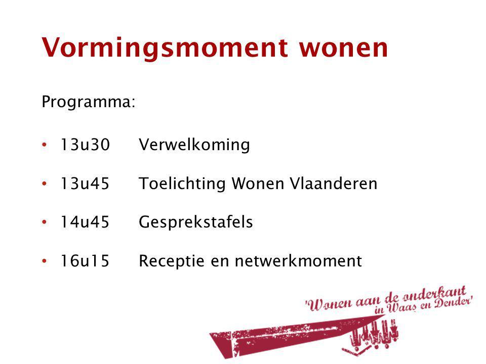 Vormingsmoment wonen Programma: 13u30Verwelkoming 13u45Toelichting Wonen Vlaanderen 14u45Gesprekstafels 16u15Receptie en netwerkmoment