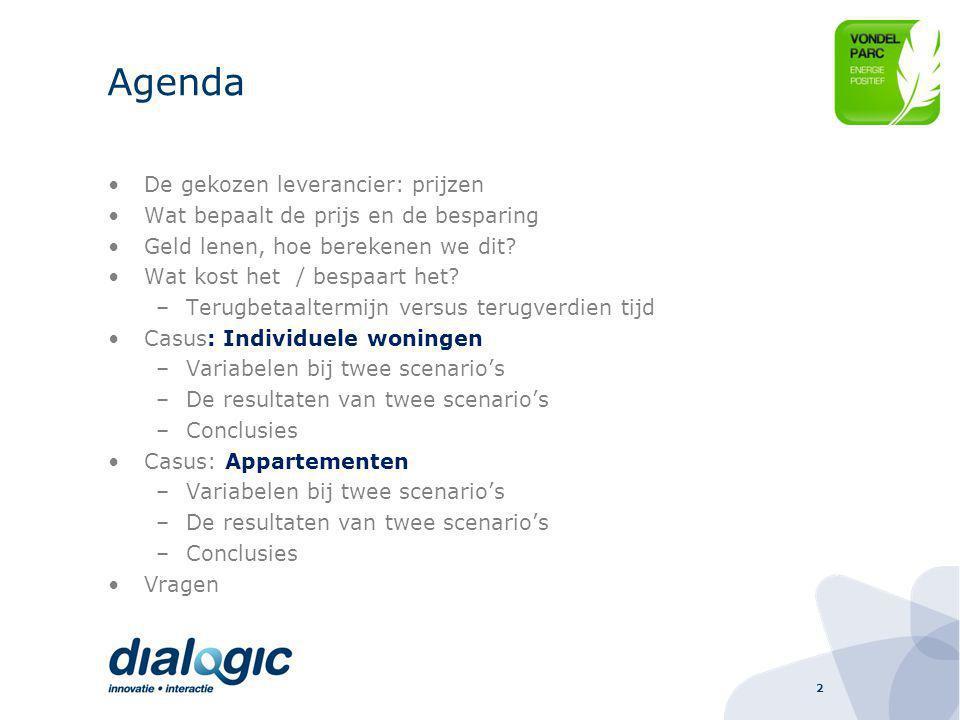 2 Agenda De gekozen leverancier: prijzen Wat bepaalt de prijs en de besparing Geld lenen, hoe berekenen we dit.