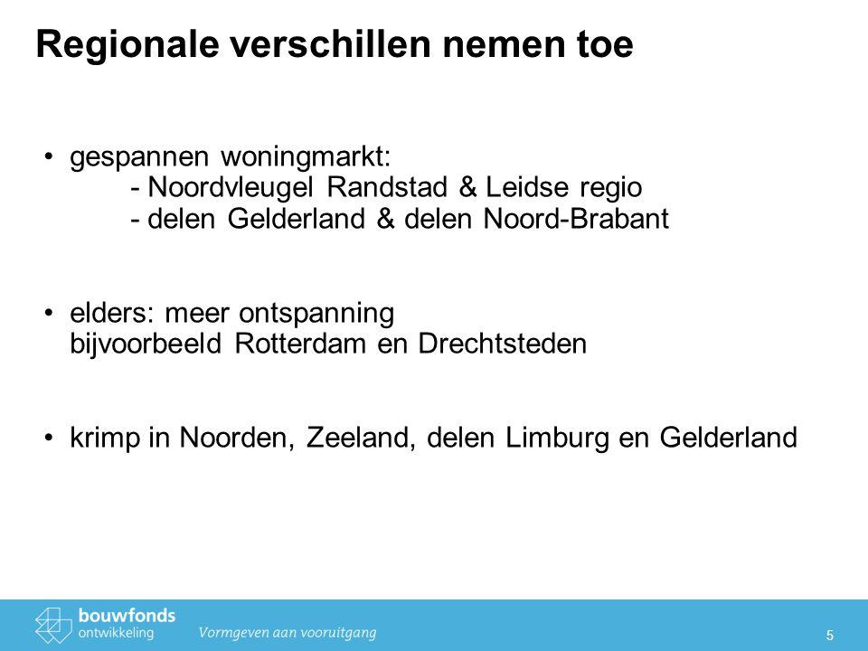 5 Regionale verschillen nemen toe gespannen woningmarkt: - Noordvleugel Randstad & Leidse regio - delen Gelderland & delen Noord-Brabant elders: meer ontspanning bijvoorbeeld Rotterdam en Drechtsteden krimp in Noorden, Zeeland, delen Limburg en Gelderland