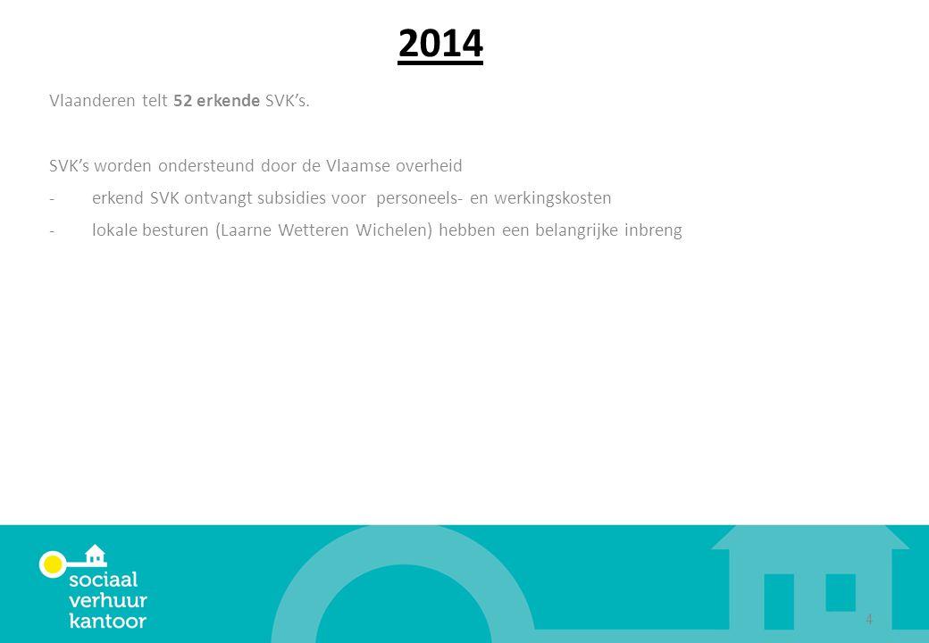 2014 Vlaanderen telt 52 erkende SVK's. SVK's worden ondersteund door de Vlaamse overheid -erkend SVK ontvangt subsidies voor personeels- en werkingsko
