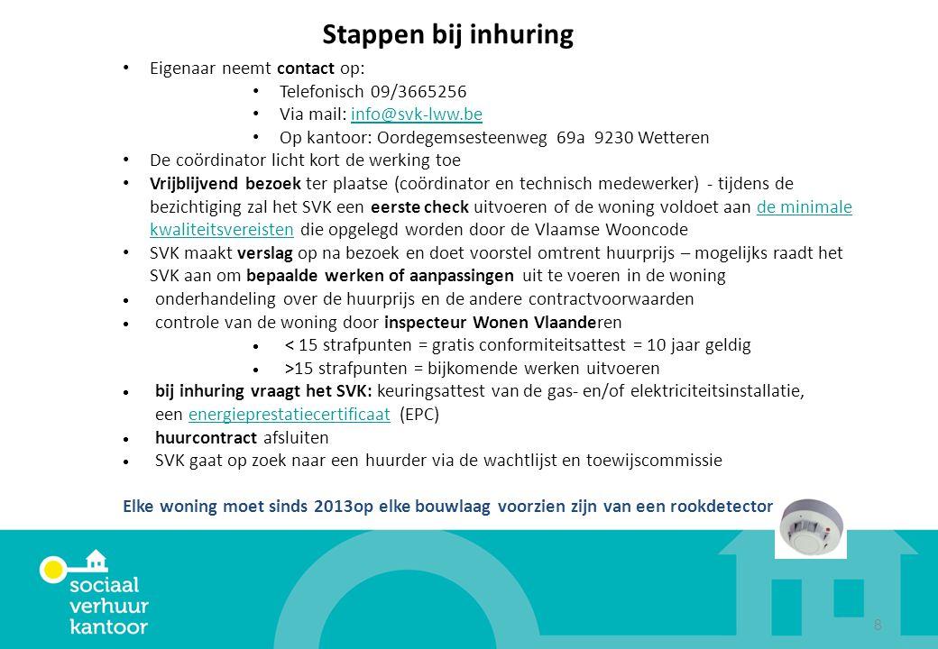 8 Stappen bij inhuring Eigenaar neemt contact op: Telefonisch 09/3665256 Via mail: info@svk-lww.beinfo@svk-lww.be Op kantoor: Oordegemsesteenweg 69a 9