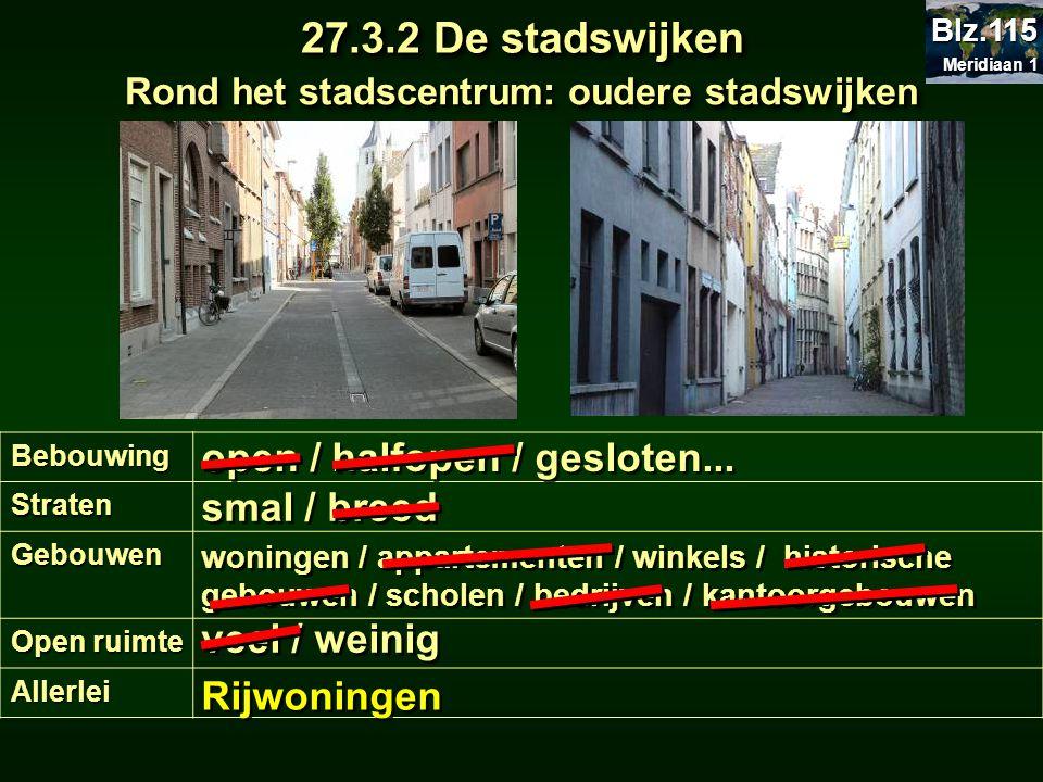Rond het stadscentrum: oudere stadswijken 27.3.2 De stadswijken BebouwingStraten Gebouwen Open ruimte Allerlei open / halfopen / gesloten... smal / br