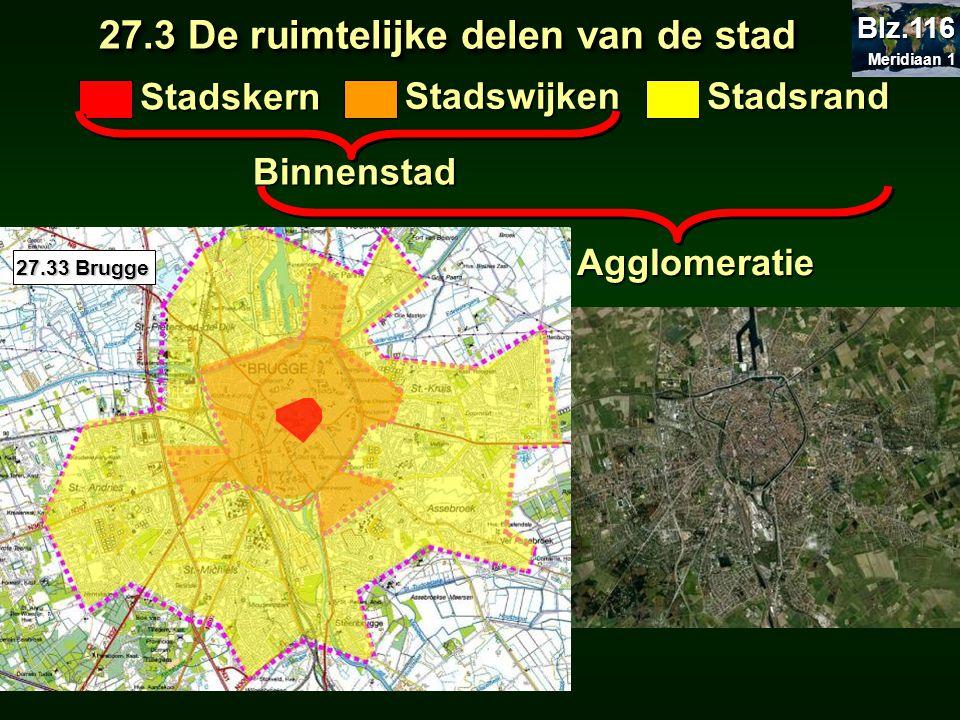 27.3 De ruimtelijke delen van de stad 27.3 De ruimtelijke delen van de stad Stadskern StadswijkenStadsrand Binnenstad Agglomeratie 27.33 Brugge Meridi