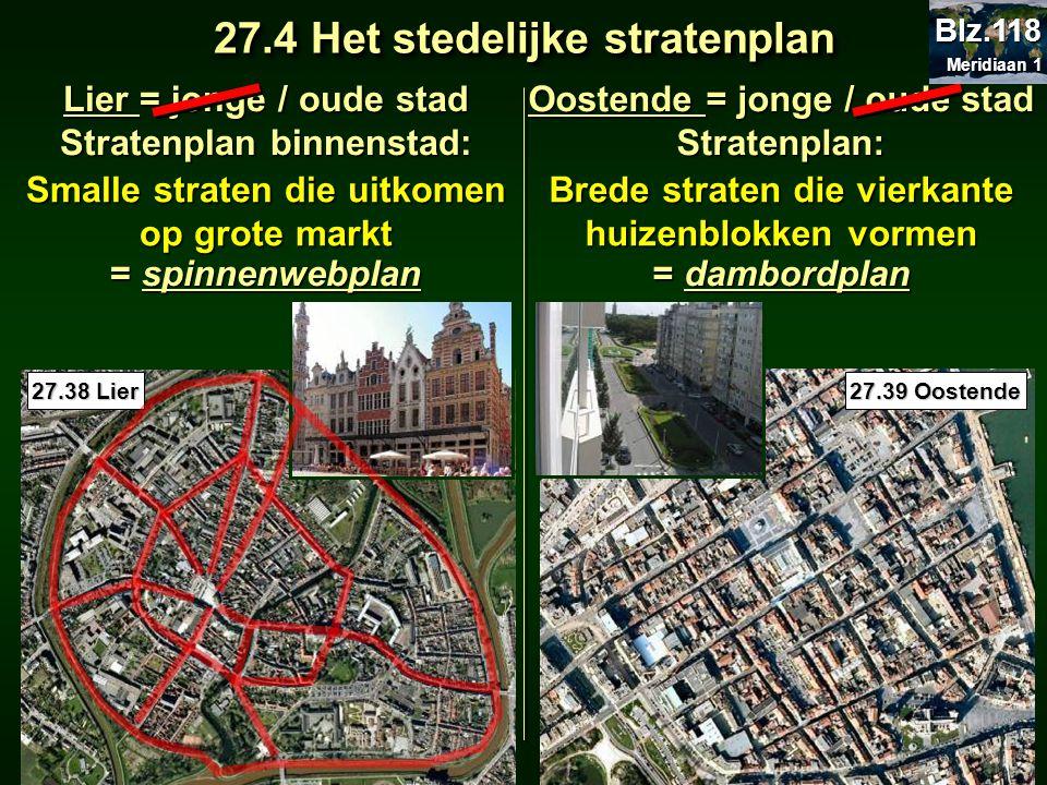 27.4 Het stedelijke stratenplan Lier = jonge / oude stad Stratenplan binnenstad: = spinnenwebplan Oostende = jonge / oude stad Stratenplan: = dambordp