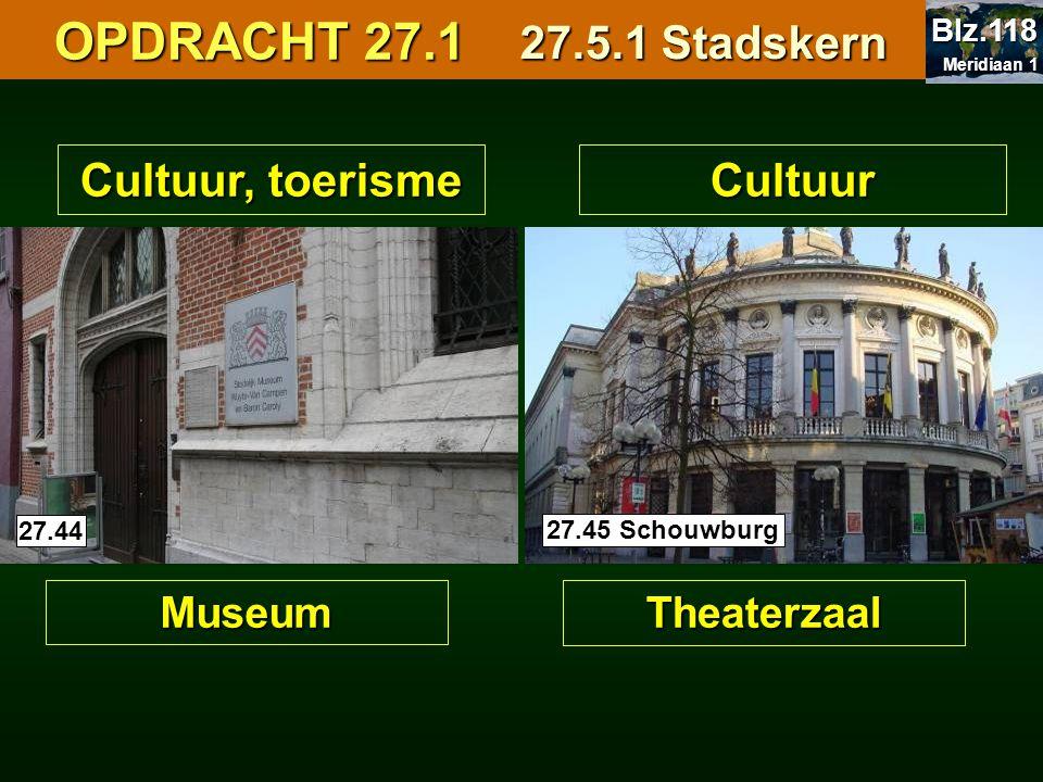 Cultuur, toerisme Museum Cultuur Theaterzaal 27.4027.44 27.45 Schouwburg OPDRACHT 27.1 OPDRACHT 27.1 27.5.1 Stadskern Meridiaan 1 Meridiaan 1 Blz.118