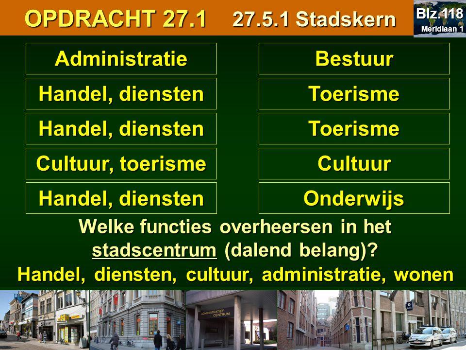 AdministratieBestuur Handel, diensten Toerisme Toerisme Cultuur, toerisme Cultuur Handel, diensten Onderwijs Welke functies overheersen in het stadsce