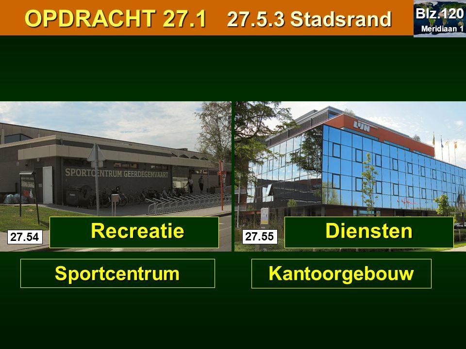 OPDRACHT 27.1 OPDRACHT 27.1 27.5.3 Stadsrand 27.54 27.55 Recreatie Sportcentrum Diensten Kantoorgebouw Meridiaan 1 Meridiaan 1 Blz.120
