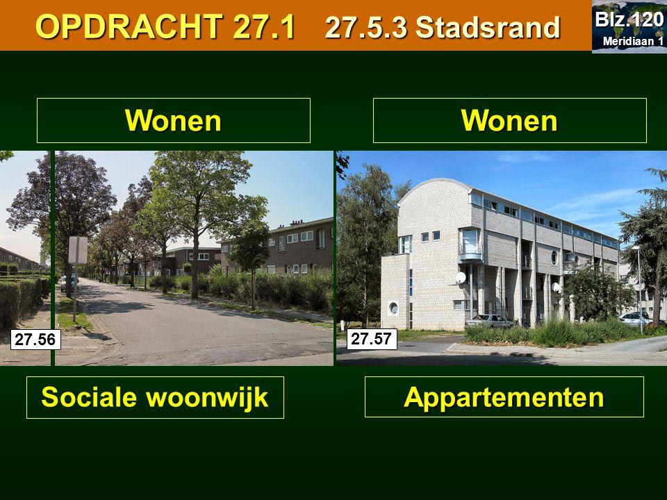 OPDRACHT 27.1 OPDRACHT 27.1Wonen Appartementen Wonen Sociale woonwijk 27.5.3 Stadsrand 27.56 27.57 Meridiaan 1 Meridiaan 1 Blz.120